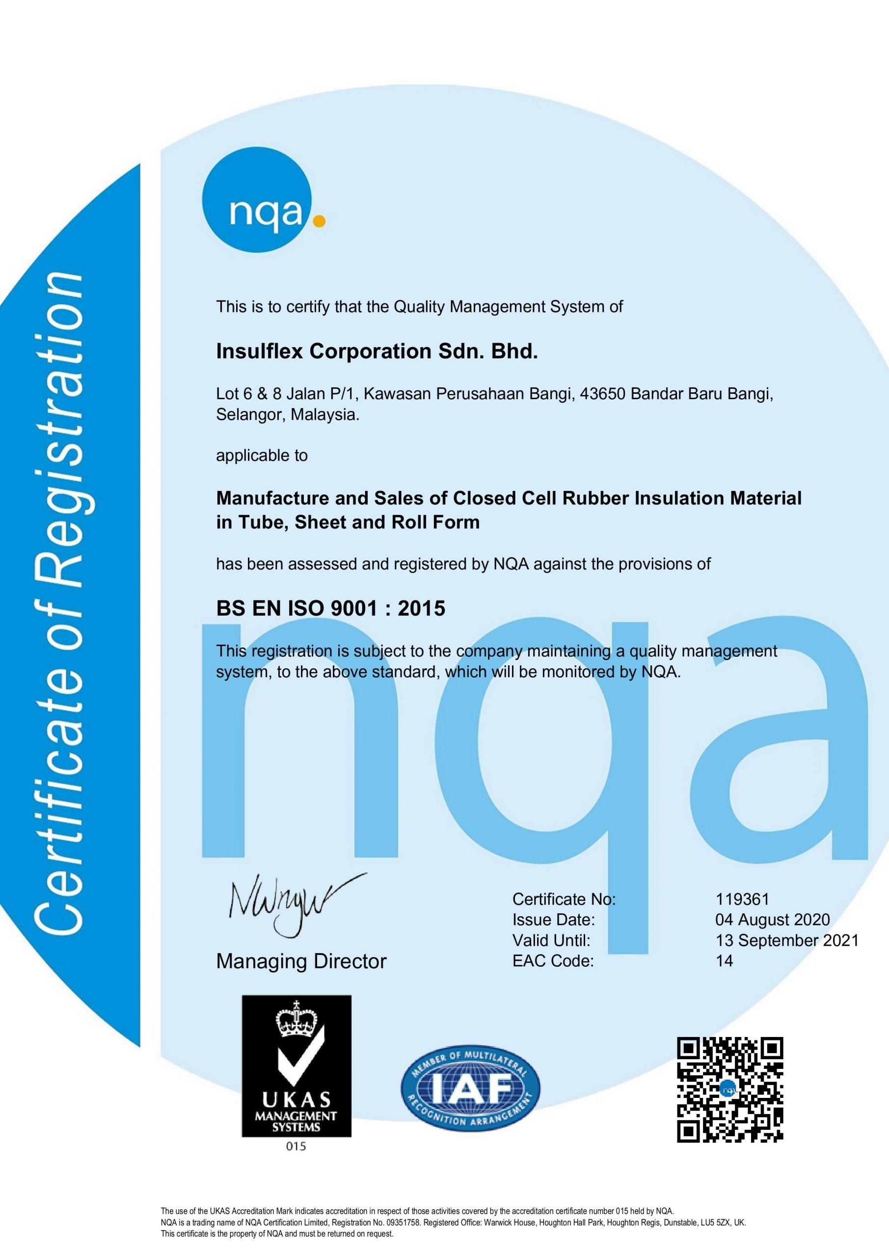 Certificate Insulflex – QMS(9000)