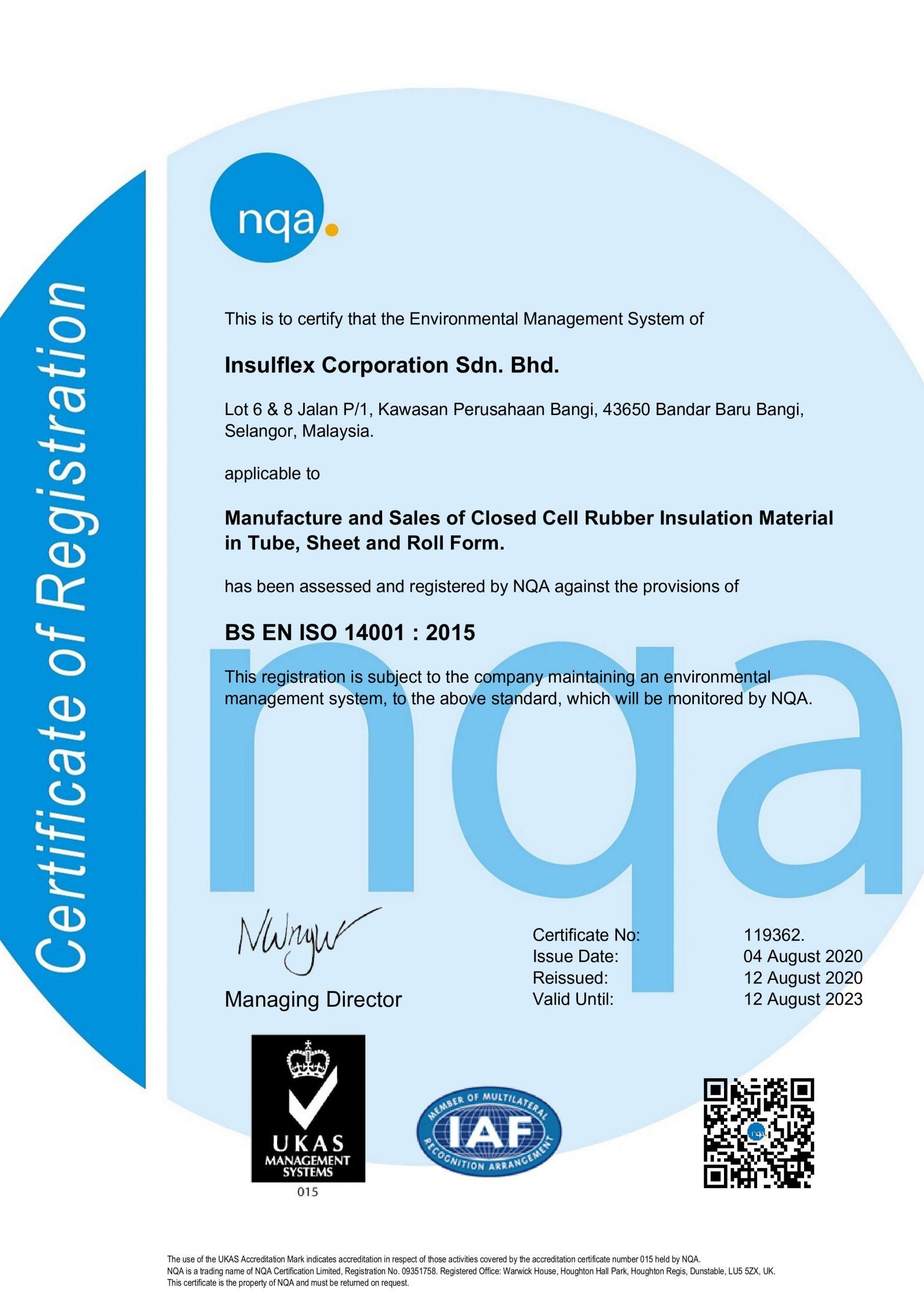 certificate Insulflex – EMS(14000)